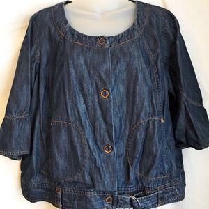 Apostrophe Size 18W Blue Denim Jacket Snap Front